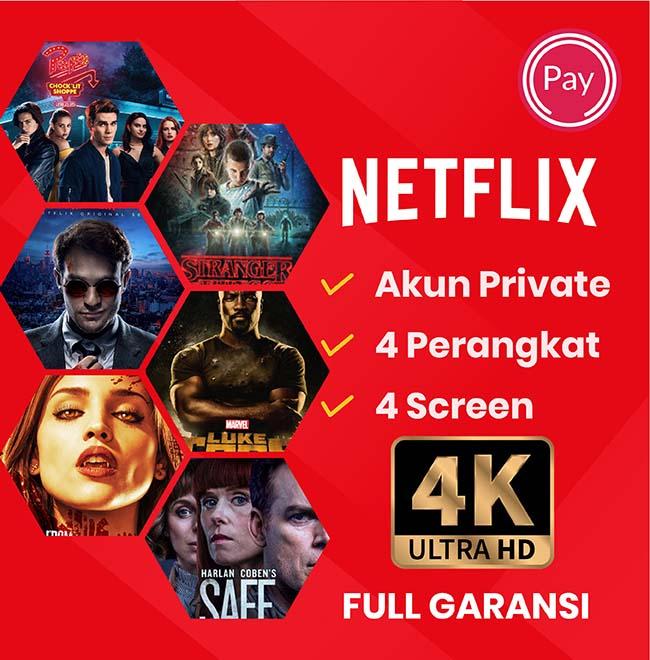 Netflix Netflix Premium UHD 4K - Netflix Private (Max 4 Device)  30 Hari, (Full Garansi)
